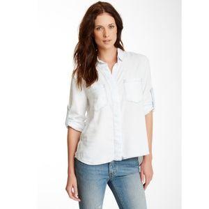 Cloth & Stone White Was Split Back Button Top